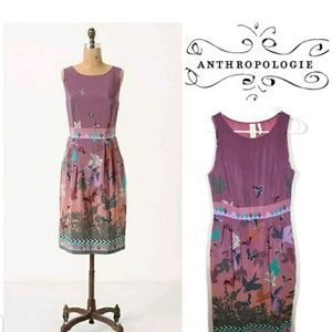 Anthropologie Heyhoe Women's Silk Dress Bird Print
